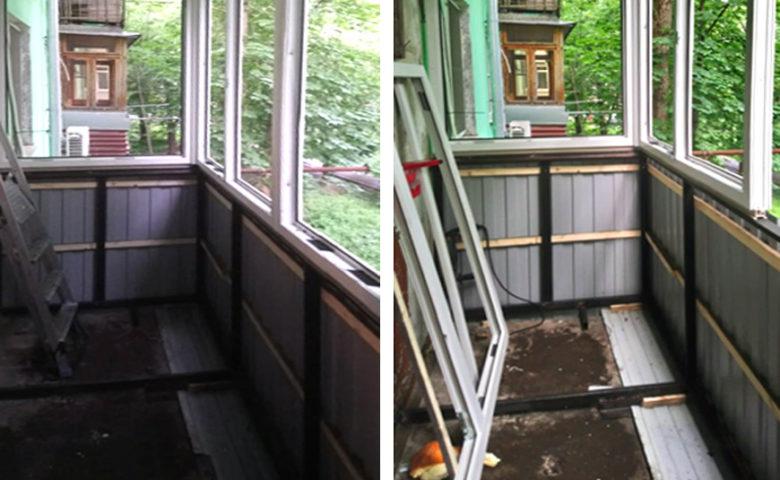 Ремонт под ключ и отделка балкона вагонкой из дерева