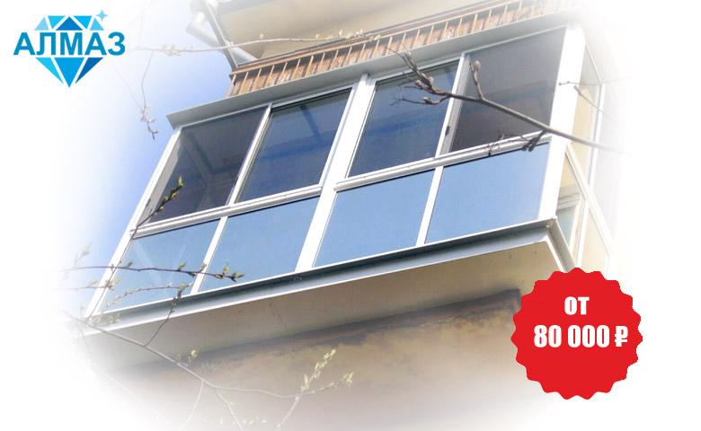Панорамное остекление балкона с выносом плиты во все стороны