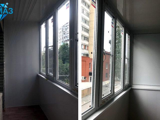 Остекление углового балкона - реальное фото объекта до и после