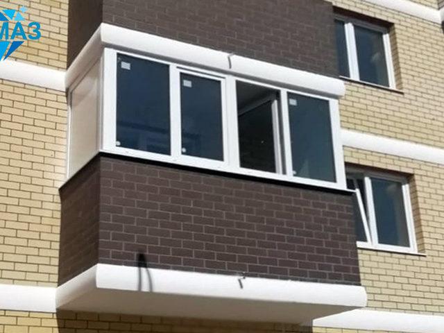 Новостройка, остекление балкона, реальное фото. Подрядчик ООО Алмаз
