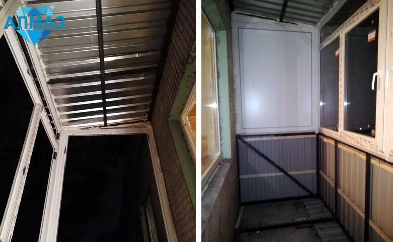 Каркас для балконной крыши из металла, установлены стеклопакеты